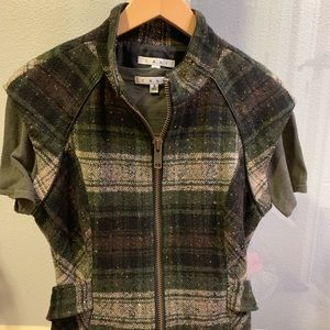 Green Plaid Cabi vest- size M